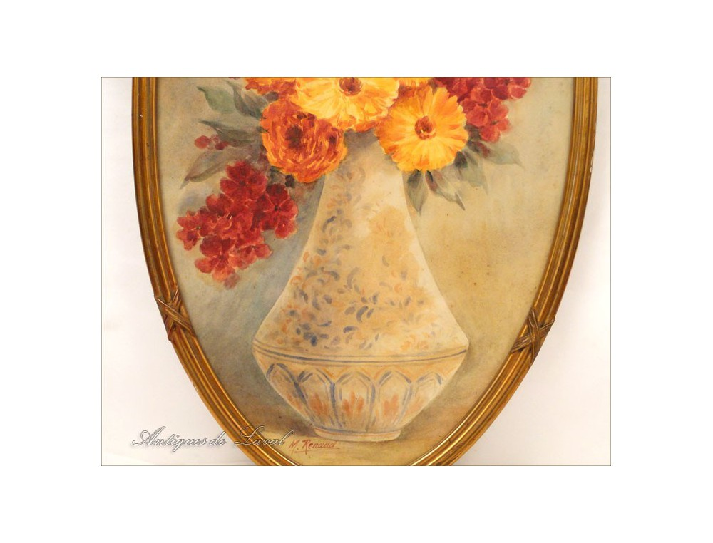 Watercolor Bouquet Of Flowers In A Vase Signed M Renaud