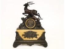 Clock in Sienna marble and bronze hunt scene, Restoration period, nineteenth