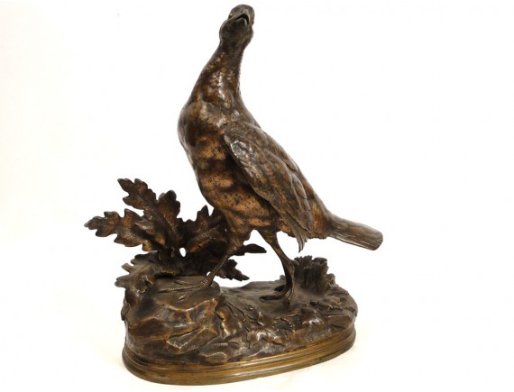 Bronze Sculpture Or Hen Pheasant Partridge Signed J