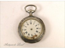 Watch Fob Sterling Silver Art Nouveau Flowers 19th