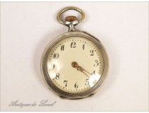 Watch Fob Sterling Silver Art Nouveau 19th Email