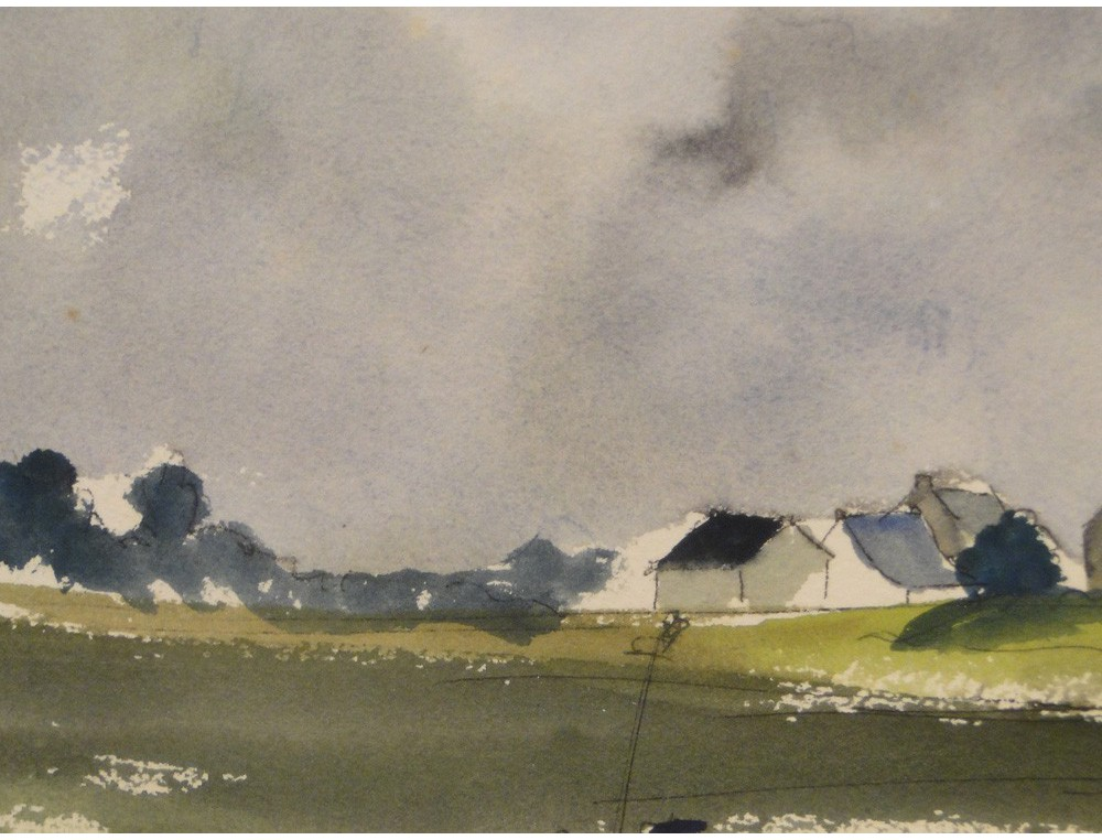 Watercolor Landscape Breton Village Seaside T Brice 20th
