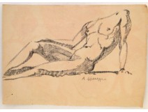 Naked Woman Drawings Study Model Laigneau Villeneuve Paul Dumas
