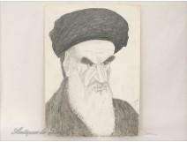 Cartoon drawing Ayatholla Khomeini J.Mola 1980
