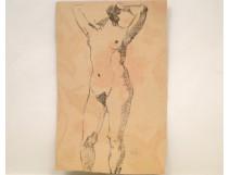 Study Drawing Nude Woman Model Laigneau Villeneuve Dumas 20th