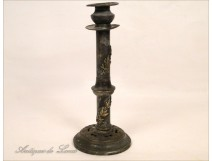 Pewter Candlestick Art Nouveau Flowers 19th