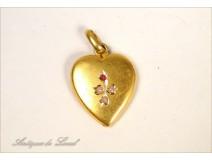 Heart Pendant Metal Gold Gemstones Pearls Flowers 20th