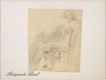 Naked Woman Drawings Study Colarossi 20th
