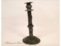 Flowers Art Nouveau Pewter candlestick 19th