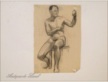 Naked Men Drawings Study Colarossi 20th