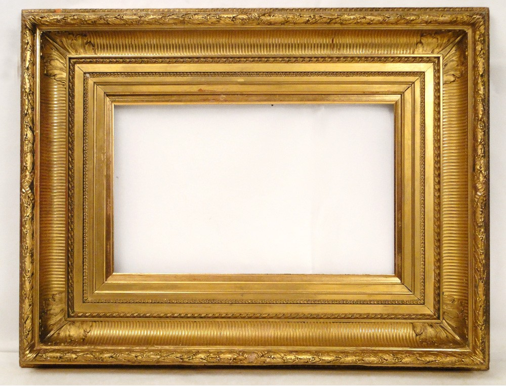 Stucco Golden Wooden Frame Decorated With Foliage