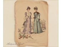 Engraving Illustrated Women Fashion Elegant Garden 19th