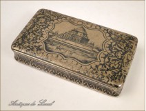 Box with inlaid silver Monument Napoleon III nineteenth