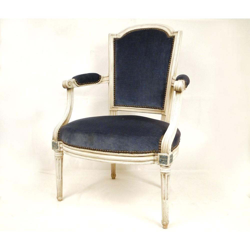 fauteuil louis xvi en bois laqu sculpt poque xviii ebay. Black Bedroom Furniture Sets. Home Design Ideas