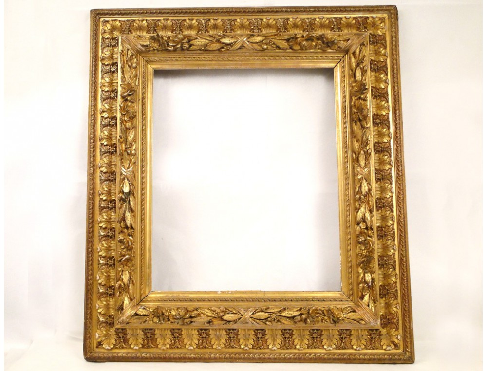 Stucco golden wooden frame, decorated with palms and roses, Napoleon ...