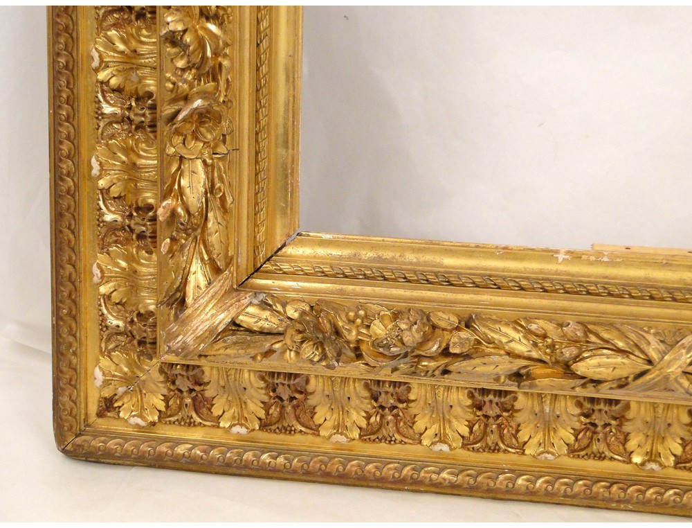 Stucco Golden Wooden Frame Decorated With Palms And Roses