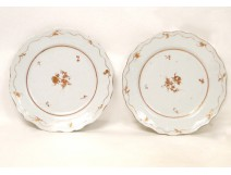 Pair of porcelain dishes of La Compagnie des Indes, with flowers and gilding, eighteenth