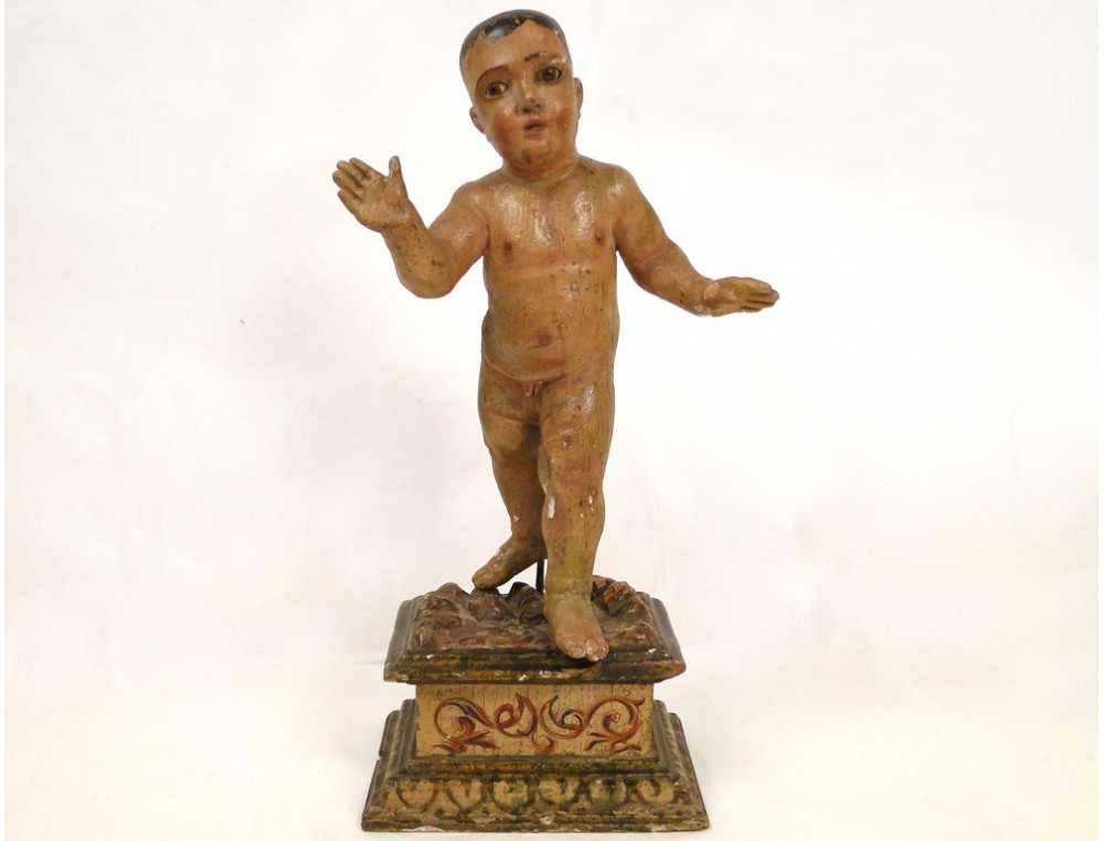 Sculpture Carved Wooden Polychrome Child Jesus Italy 18th