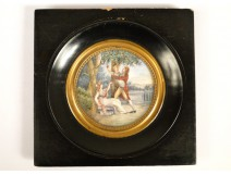 Miniature scene romantic couple and child, Legrand, XIX