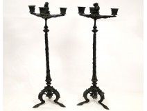 Pair of bronze candelabras, decor rodents quality Barbedienne nineteenth
