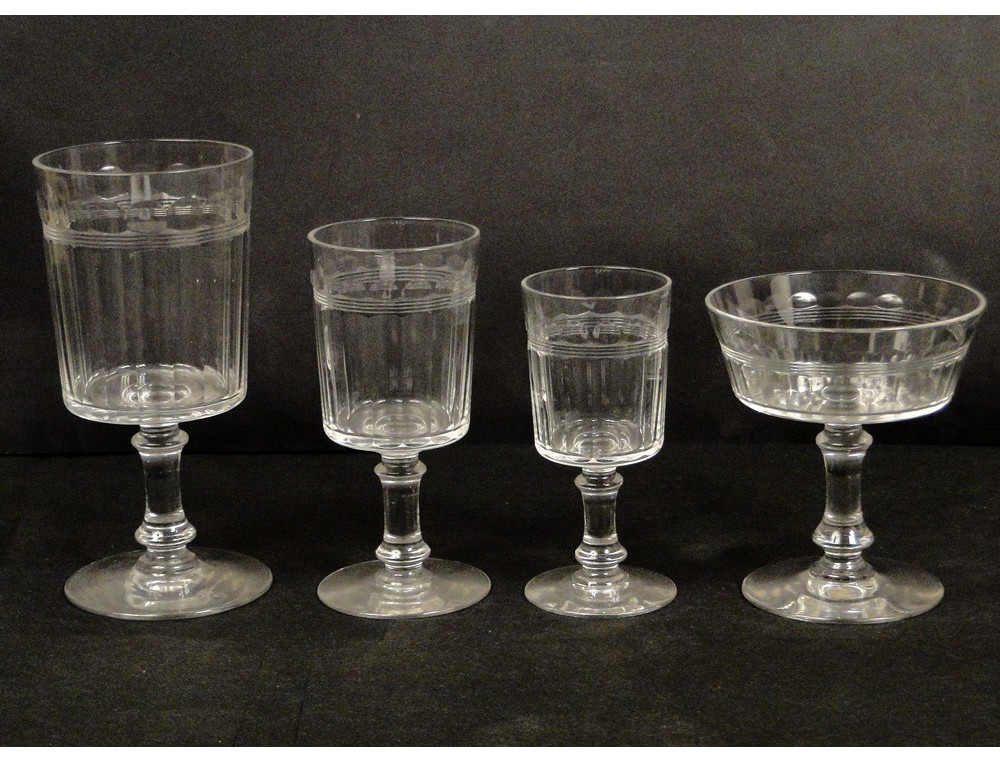 Service of glasses and decanters crystal baccarat or st louis xixth - Baccarat stemware ...