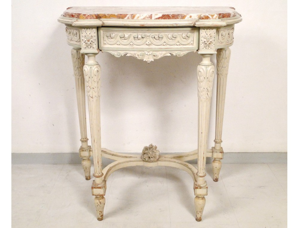 Louis XVI console, lacquered wood carved marble, Napoleon III nineteenth