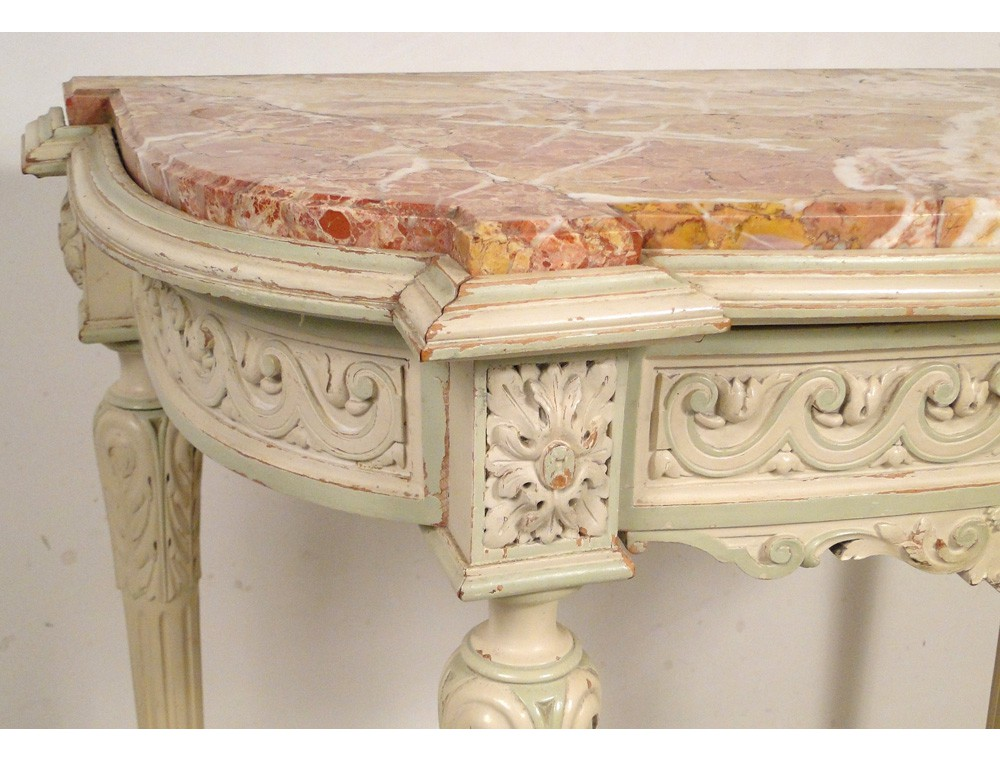 Engraved Limestone Inlay : Louis xvi console lacquered wood carved marble napoleon