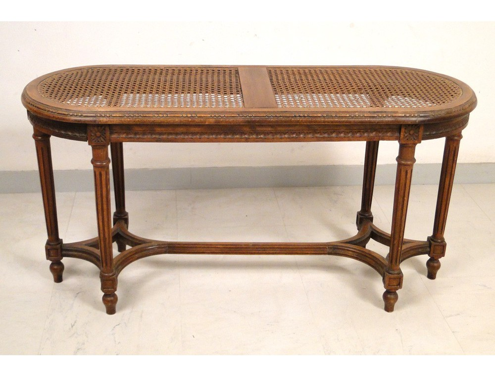 Piano bench Louis XVI carved beech caned, Napoleon III nineteenth on