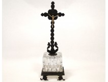 Charles X crucifix, Christ bronze cross, cut crystal nineteenth