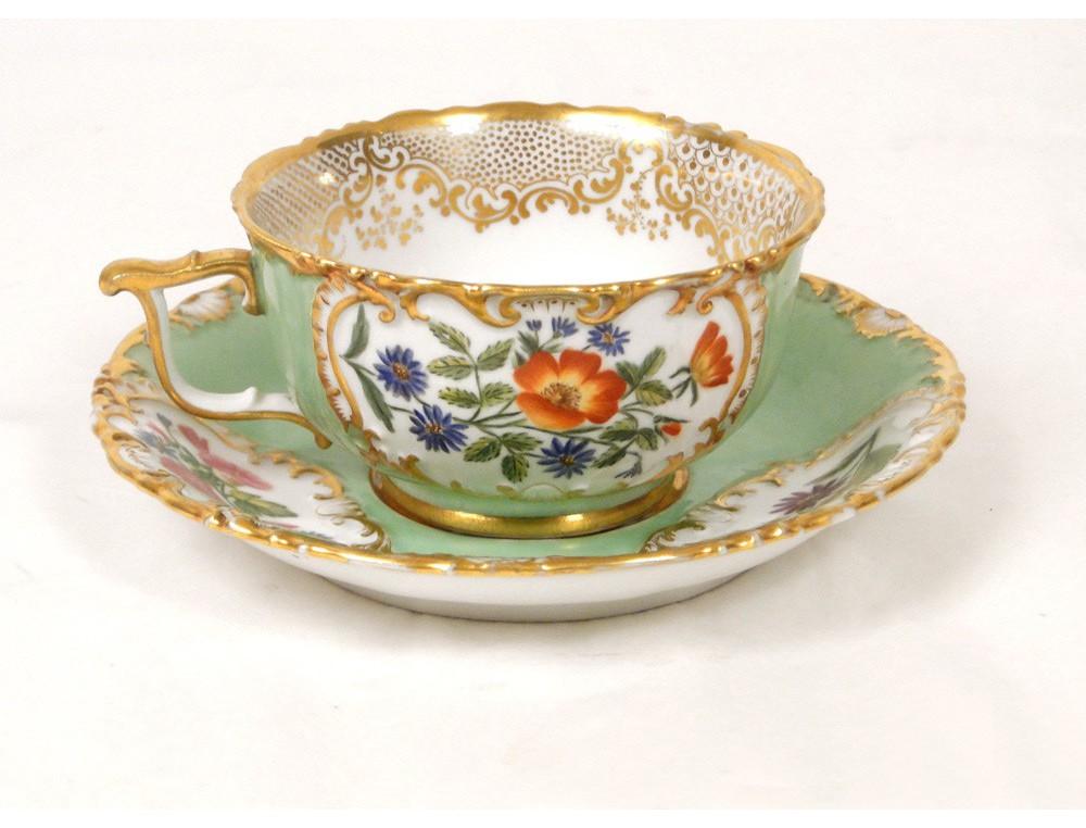 porcelain cup signed jacob petit paris flowers and gilding xix. Black Bedroom Furniture Sets. Home Design Ideas