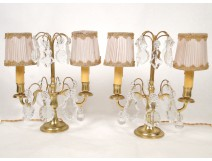 Pair of candlesticks with tassels, gilt bronze and crystal nineteenth