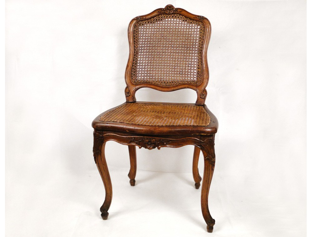 Cane chair carved walnut louis xv stamped f leroy xviii for Chaise de salle a manger louis philippe