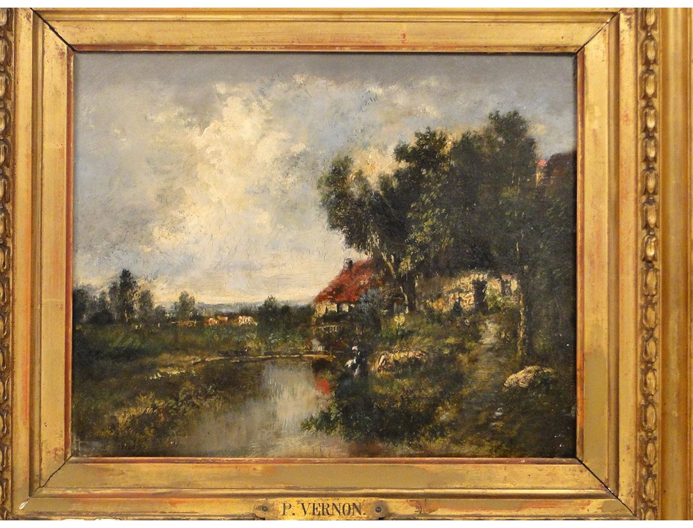 Hsp washerwoman cottage landscape painting paul vernon for Barbizon peintre