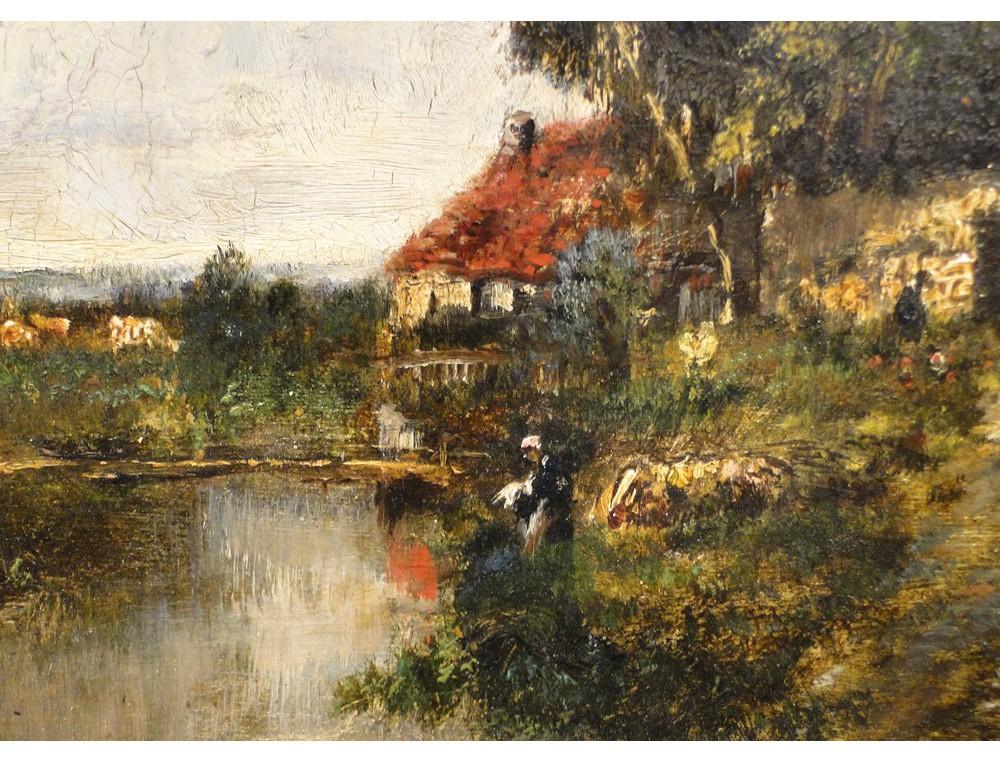 Hsp Washerwoman Cottage Landscape Painting Paul Vernon