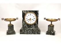 Mantelpiece clock terminal cassolettes green marble Raingo Brothers nineteenth