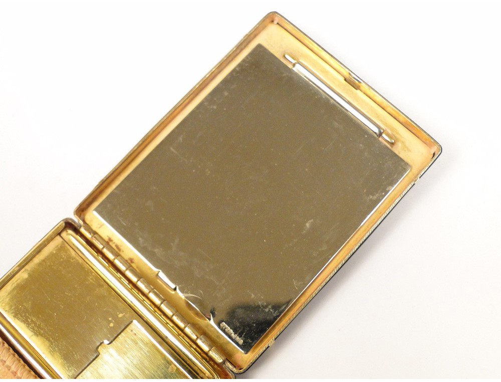 Cartier Compact Enamelled Gold And Silver Gold Powder