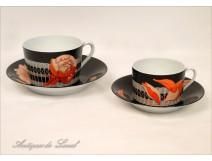 2 cups Hermes Paris porcelain twentieth