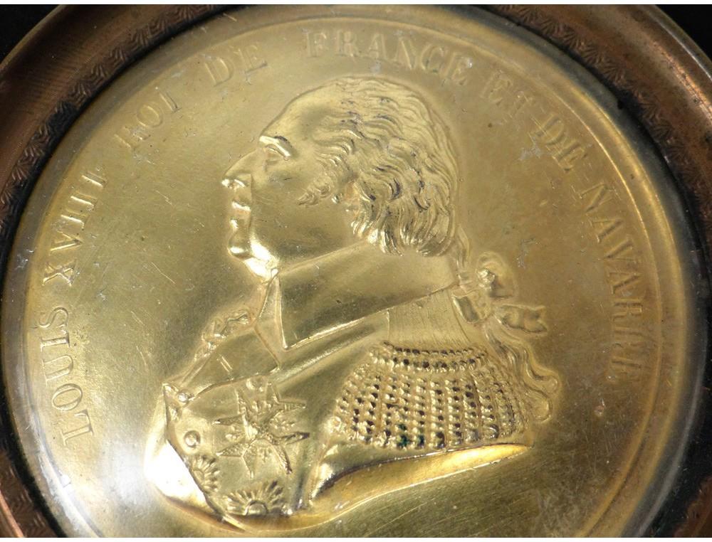 Miniature Portrait Golden Brass Louis Xviii Xix Century