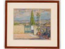 Pastel landscape south France Provence hills terrace flowers nineteenth century