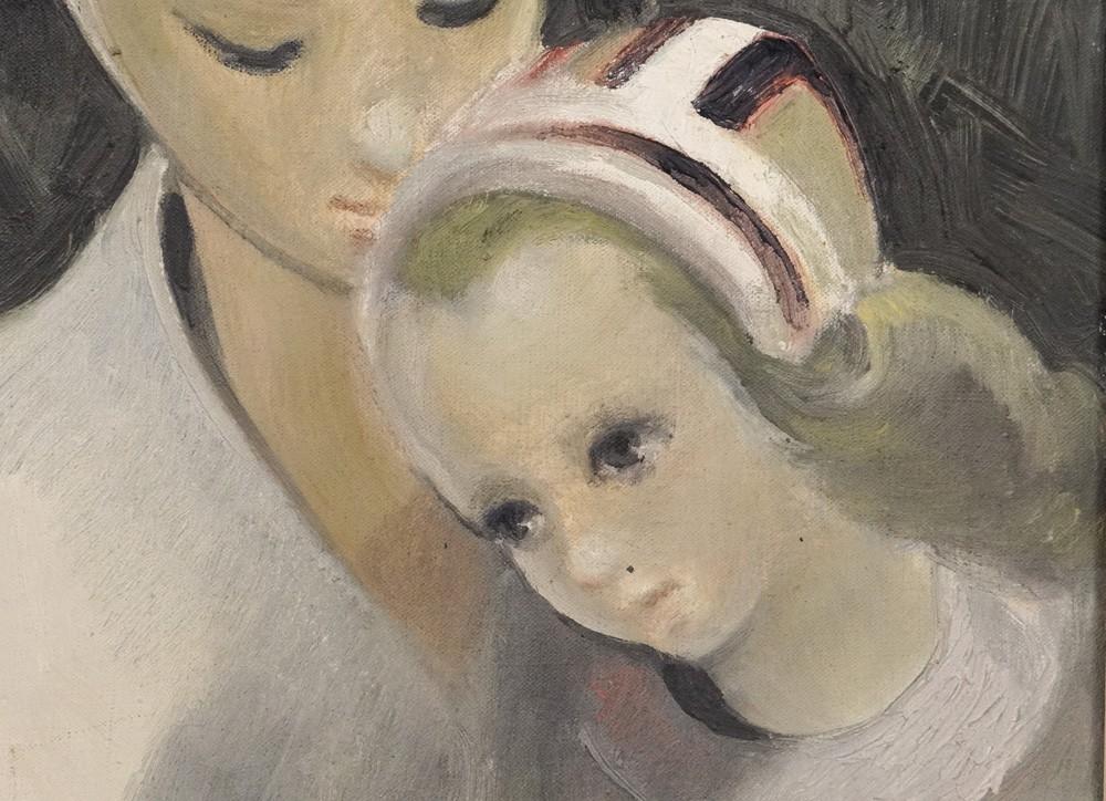 hst peinture portrait femme bretonne m re et enfant meriel bussy xx me ebay. Black Bedroom Furniture Sets. Home Design Ideas