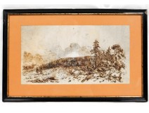 Drawing ink battlefield soldiers war cannon Morel-Fatio nineteenth Empire