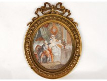 Painted miniature figures gallant scene under Louis XVI ormolu nineteenth