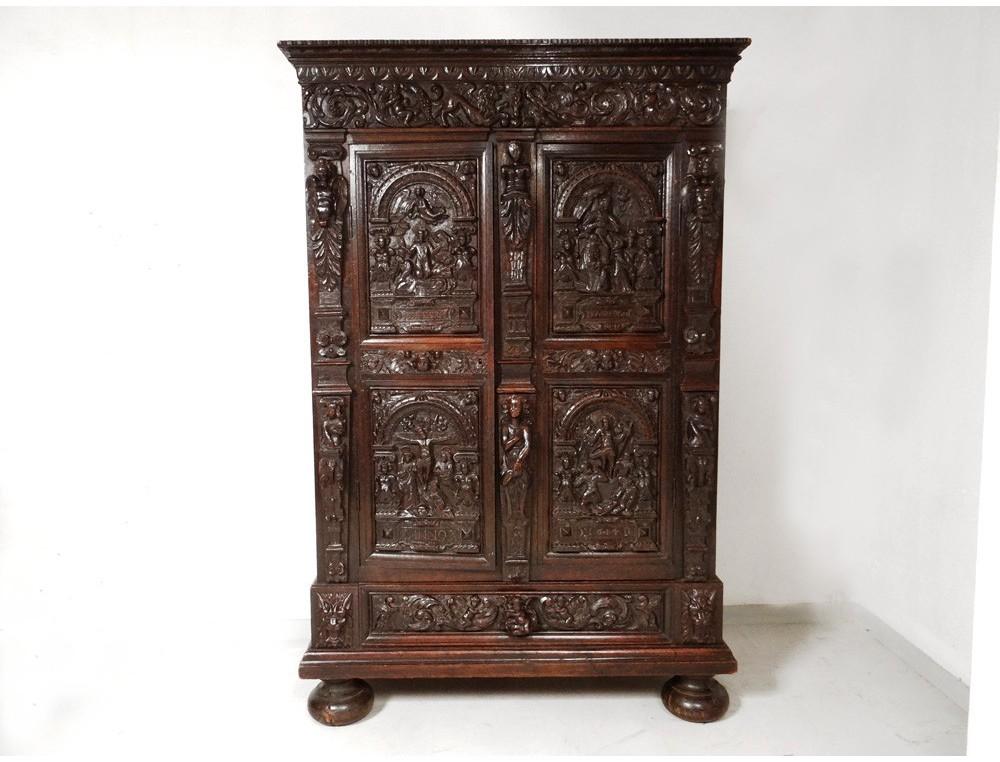 Carved oak cabinet rectory living christ angels dragon for Carved kitchen cabinets