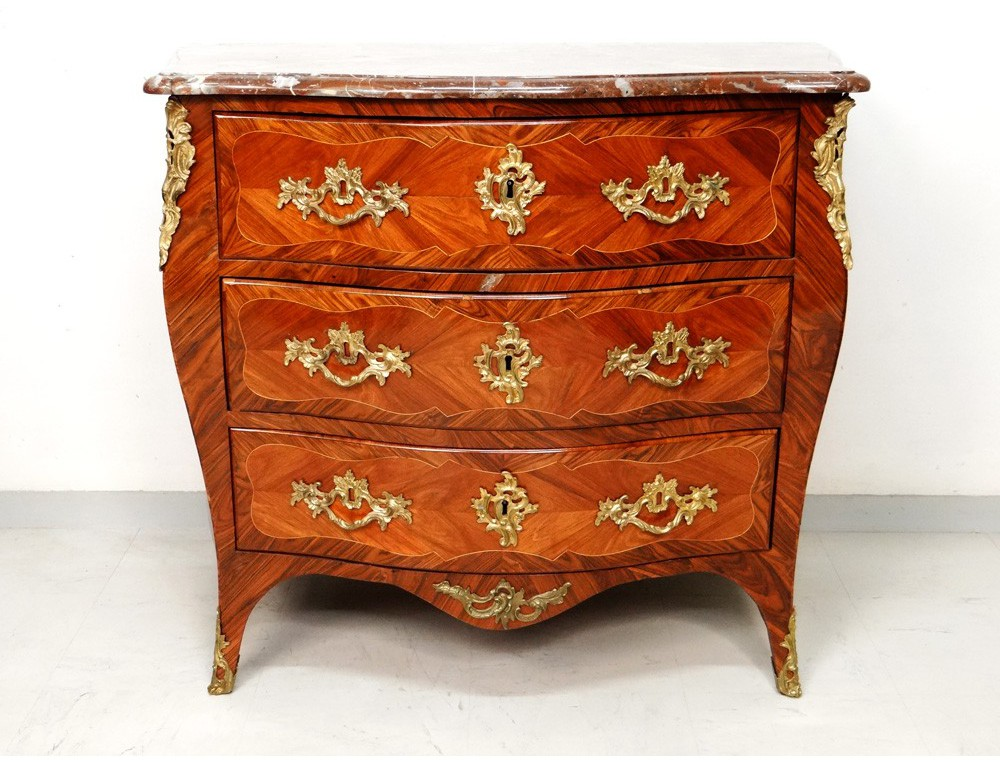 louis xv commode inlaid rosewood violet stamp roussel eighteenth. Black Bedroom Furniture Sets. Home Design Ideas