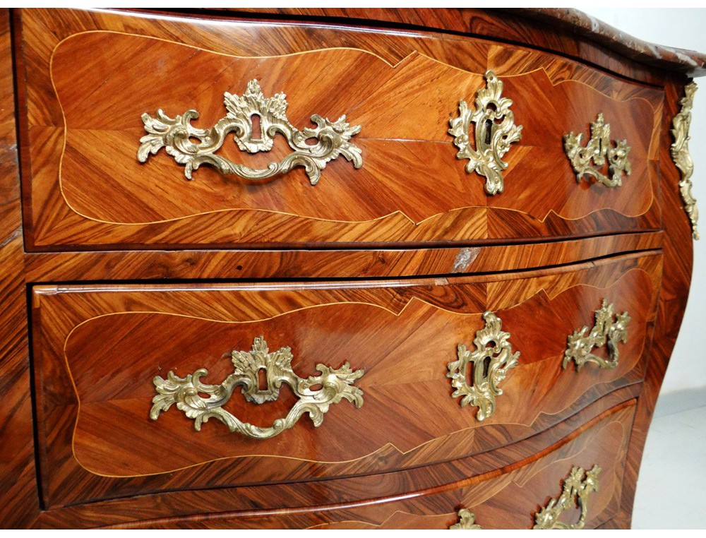 Louis XV commode inlaid rosewood violet stamp Roussel eighteenth # Meuble Bois De Rose