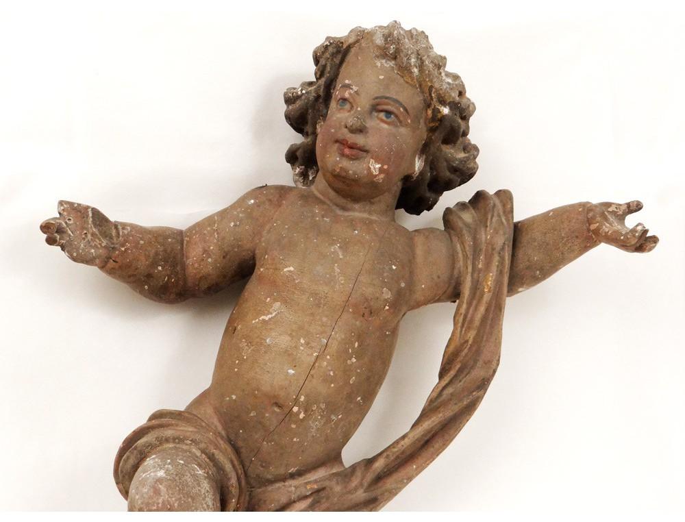 Polychrome Wood Sculpture Statue Angel Cherub Church Louis