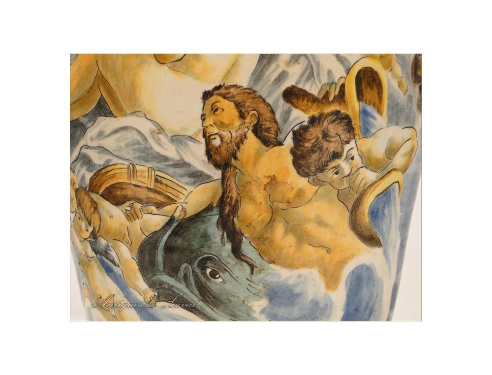 Pair Of Majolica Vases Urbino Italy Nineteenth