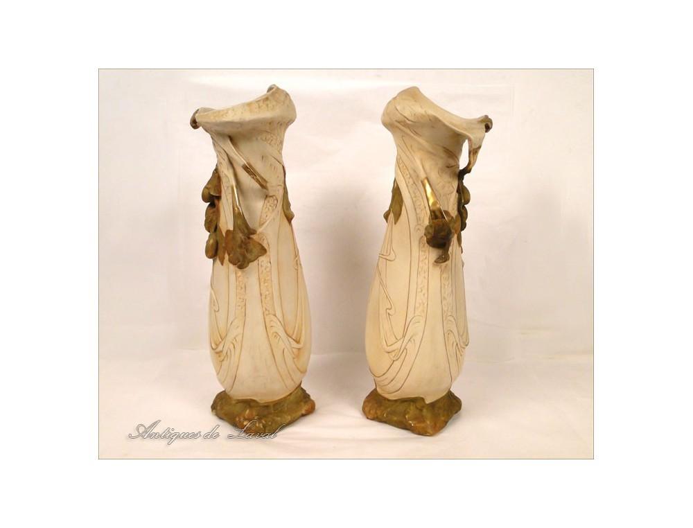 Pair Of Royal Dux Porcelain Vase Art Nouveau Bohemia Nineteenth
