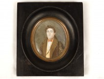 Miniature painted portrait young nobleman nineteenth century bourgeois Pollet