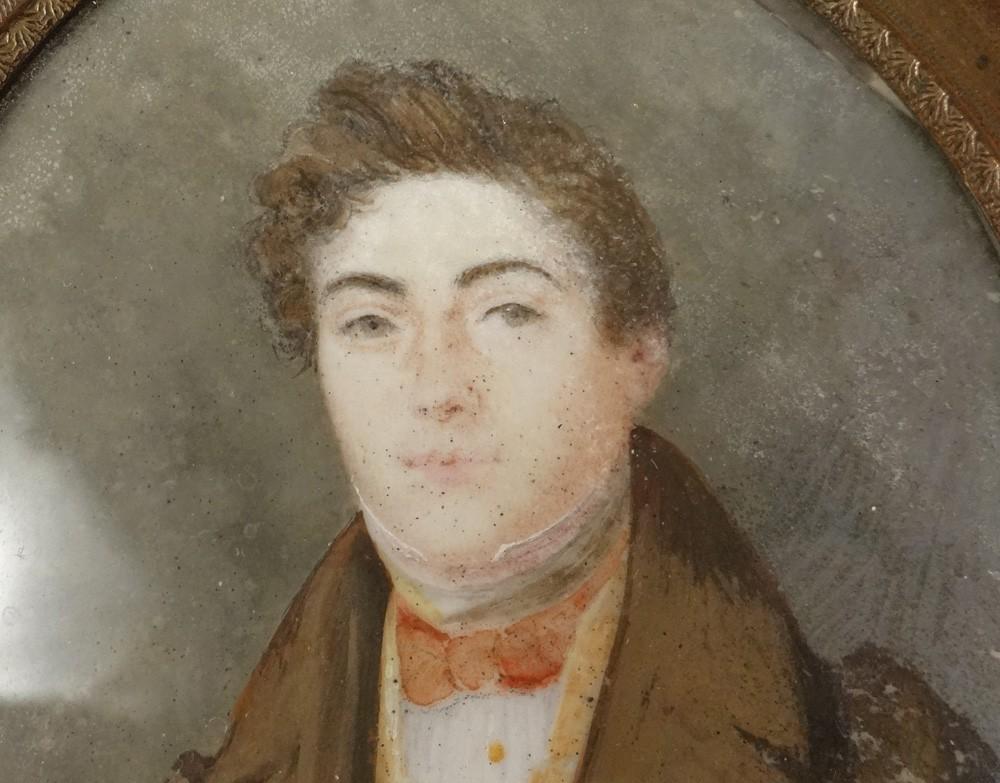 miniature peinte portrait jeune homme noble bourgeois pollet xix si cle ebay. Black Bedroom Furniture Sets. Home Design Ideas